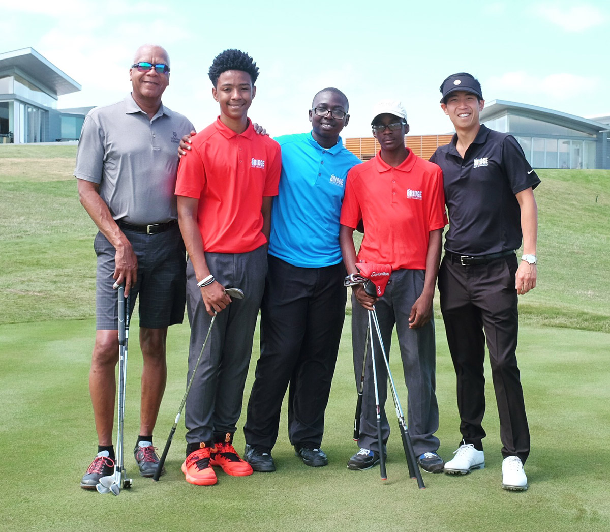 "Dr. Alvin ""Swan"" Sewell played with, from left, Josiah Yoba, Zion Smith and Kyle Barthelmy. Teaching Pro Brian Hwang provided some coaching."