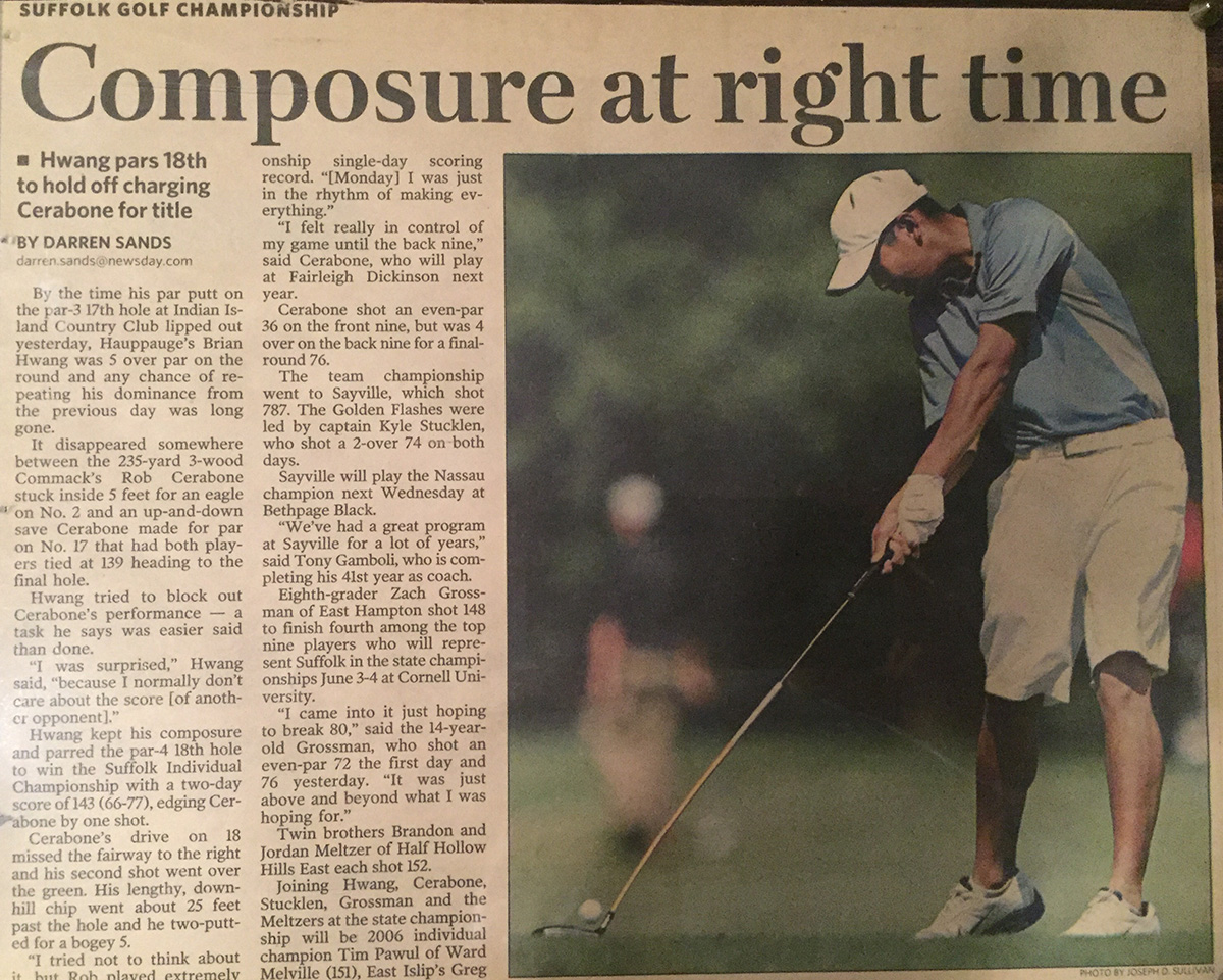 Hwang was featured in Newsday after winning the Suffolk Individual Championship in 2007.