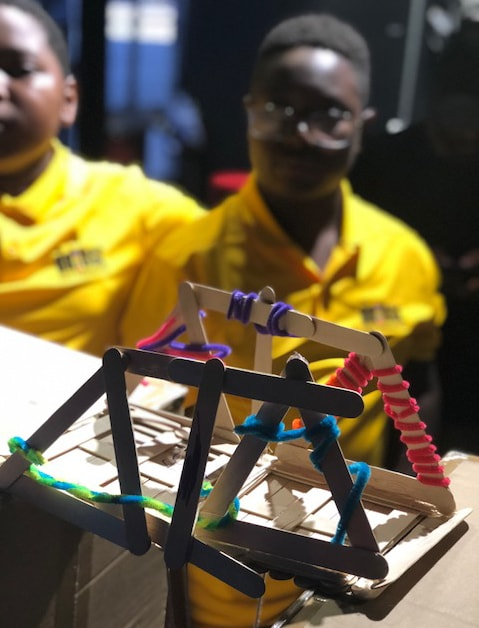 Allajah with a popsicle bridge.