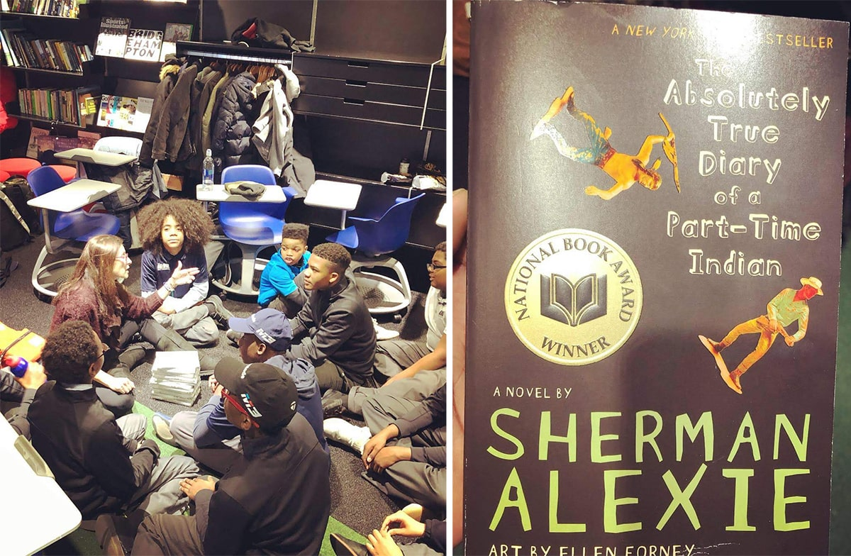 Stéphane Samuel and 8th graders and The Absolutely True Diary of a Part-Time Indian