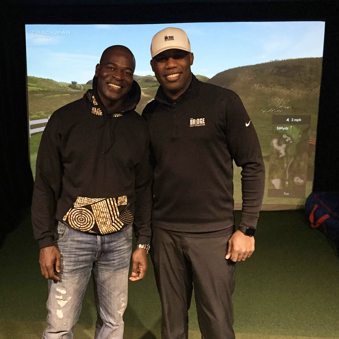 Hisham Tawfiq with Teaching Professional Randy Taylor at The Bridge Golf Learning Center