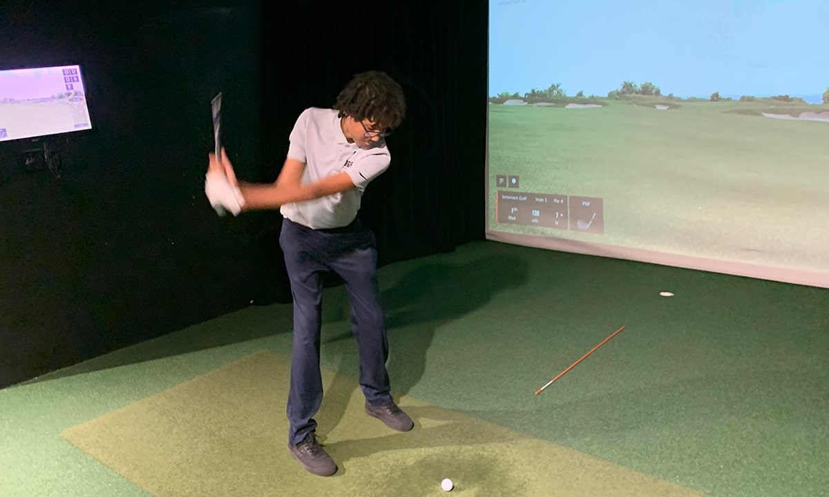 Santana Rojas swing on TrackMan Bridge Golf Learning Center